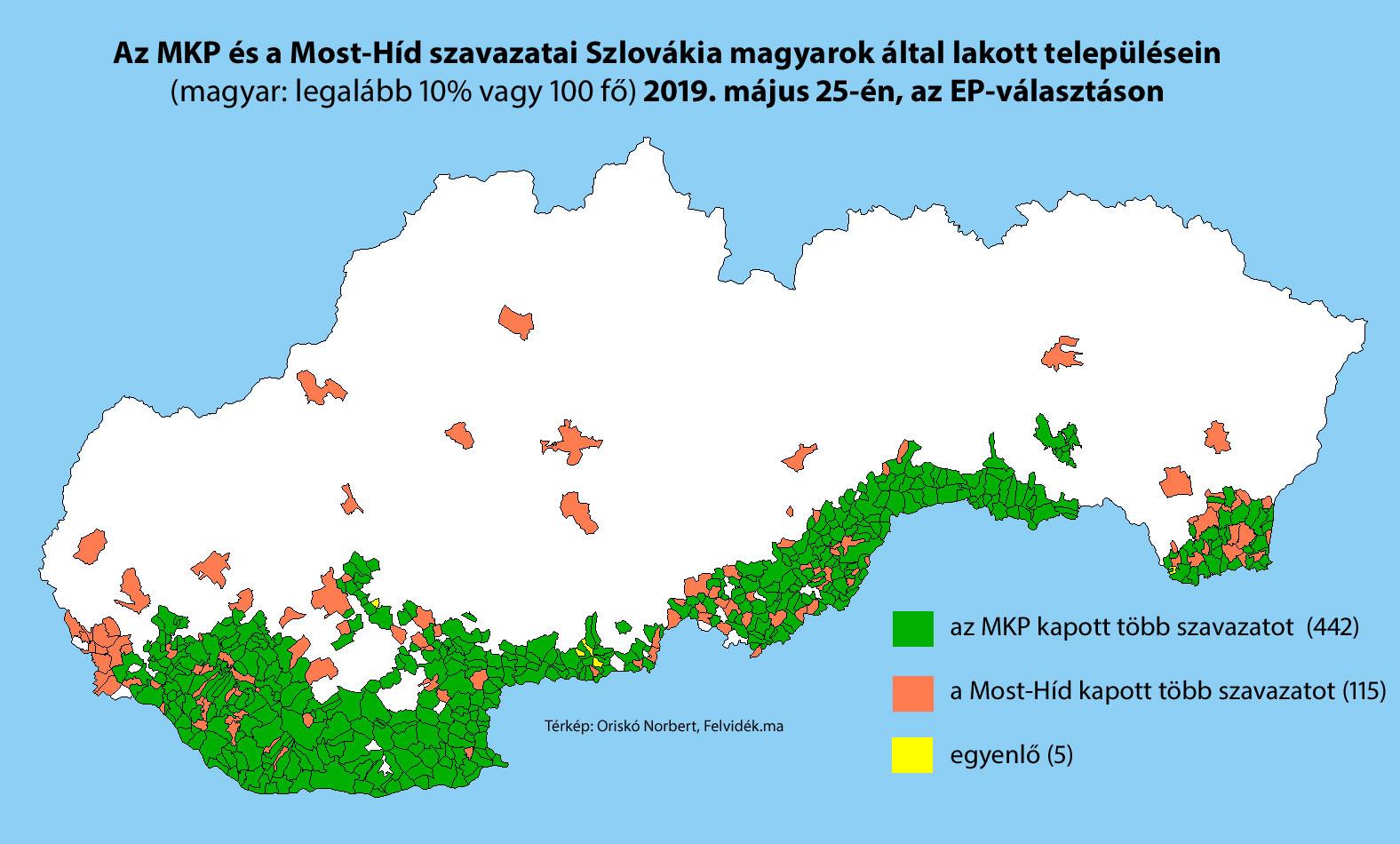 Az EP-választás eredményei a felvidéki településeken - Tények.sk